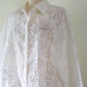 JH Collectibles Woman Lace Ivory Blouse 3X NWOT